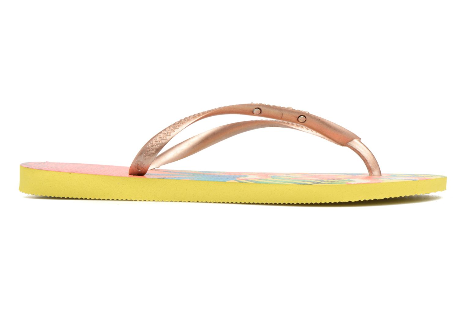 Tongs Havaianas Slim Tropical Jaune vue derrière