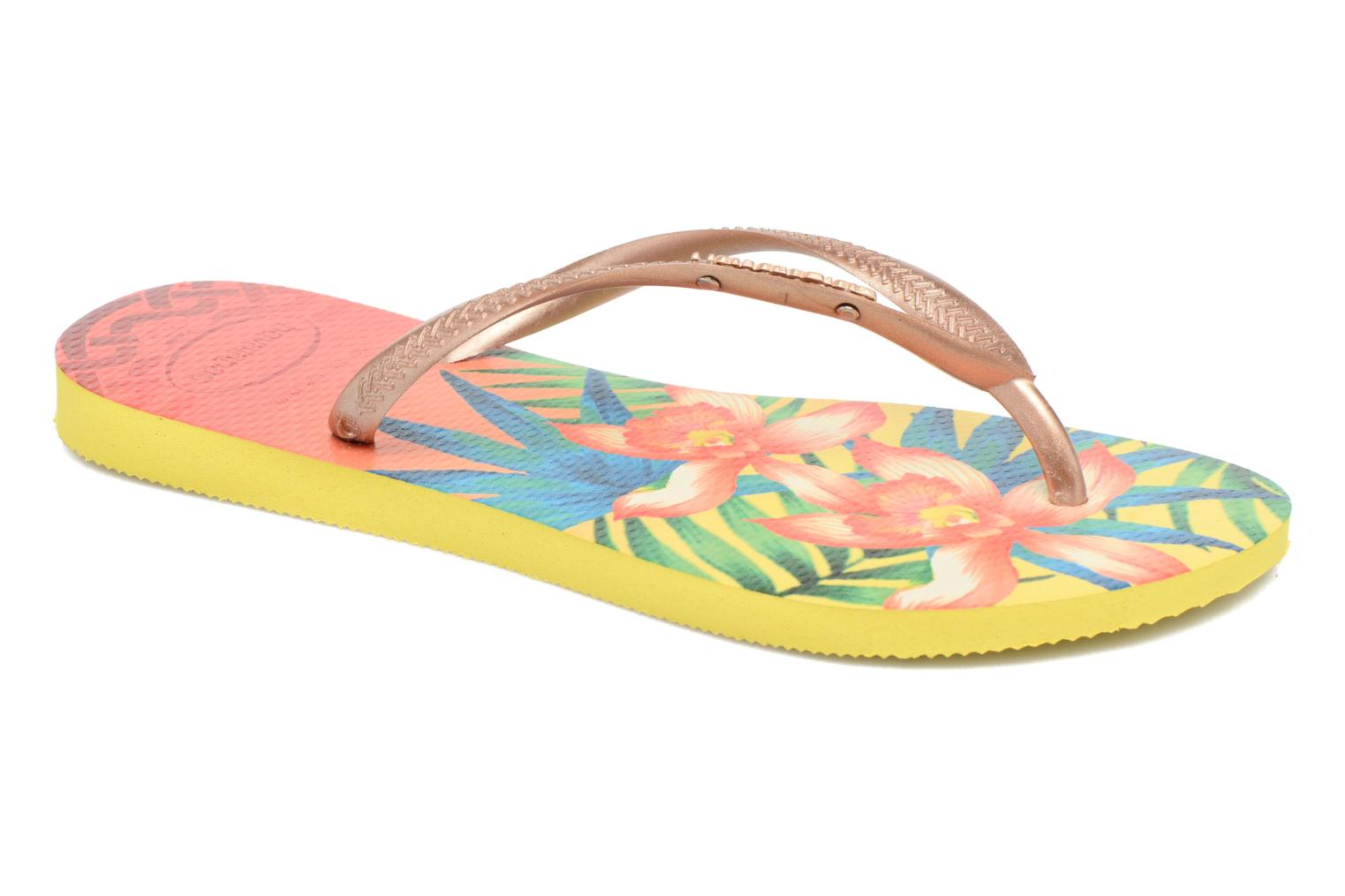 Tongs Havaianas Slim Tropical Jaune vue détail/paire