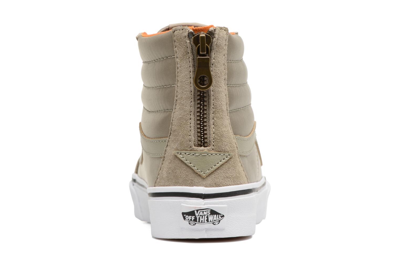 Baskets Vans SK8-Hi Slim Zip Vert vue droite