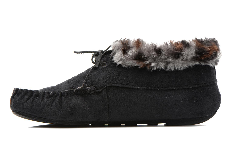 Pantoffels Ruby Brown Mocassin leopard collar Zwart voorkant