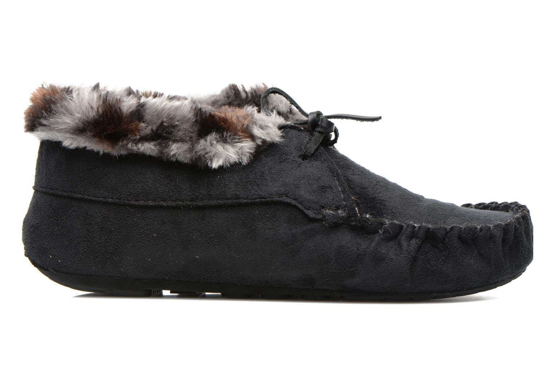 Pantuflas Ruby Brown Mocassin leopard collar Negro vistra trasera