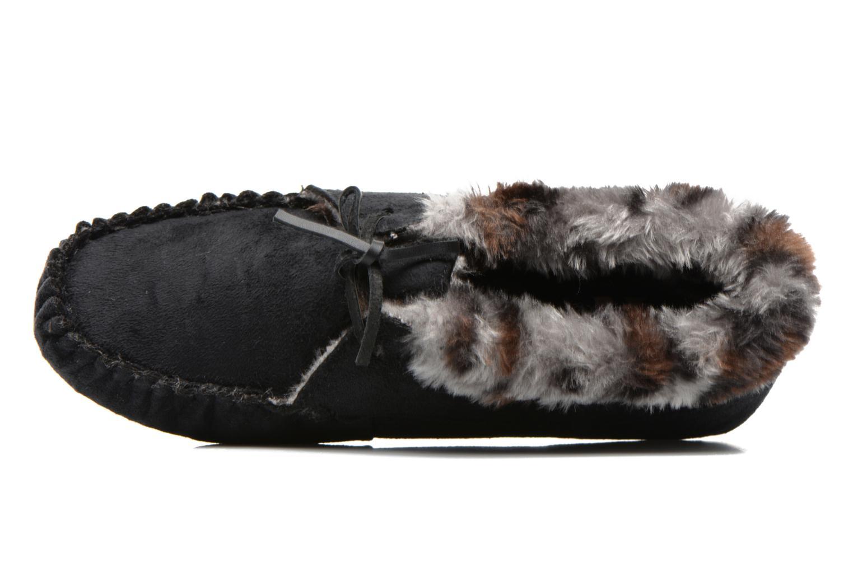 Pantuflas Ruby Brown Mocassin leopard collar Negro vista lateral izquierda