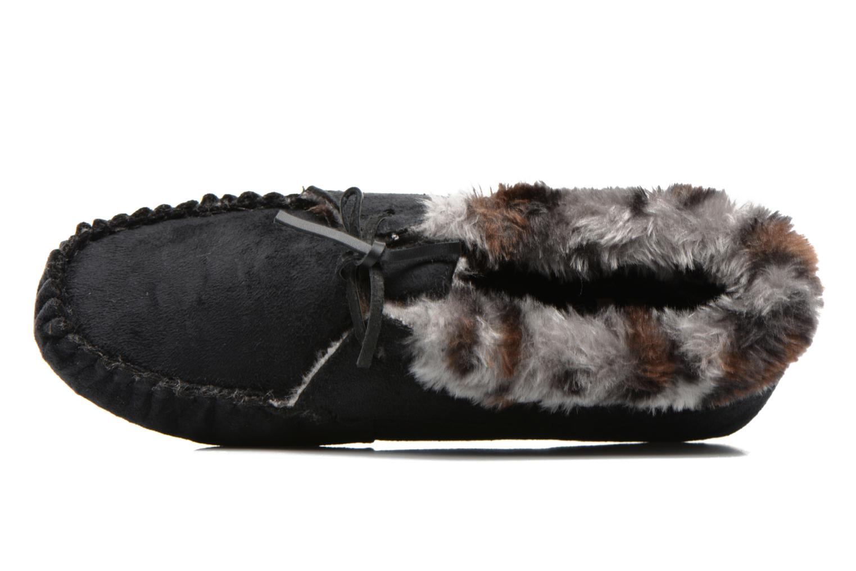 Pantofole Ruby Brown Mocassin leopard collar Nero immagine sinistra