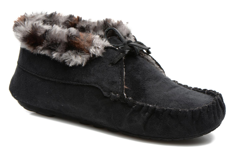 Pantuflas Ruby Brown Mocassin leopard collar Negro vista de detalle / par
