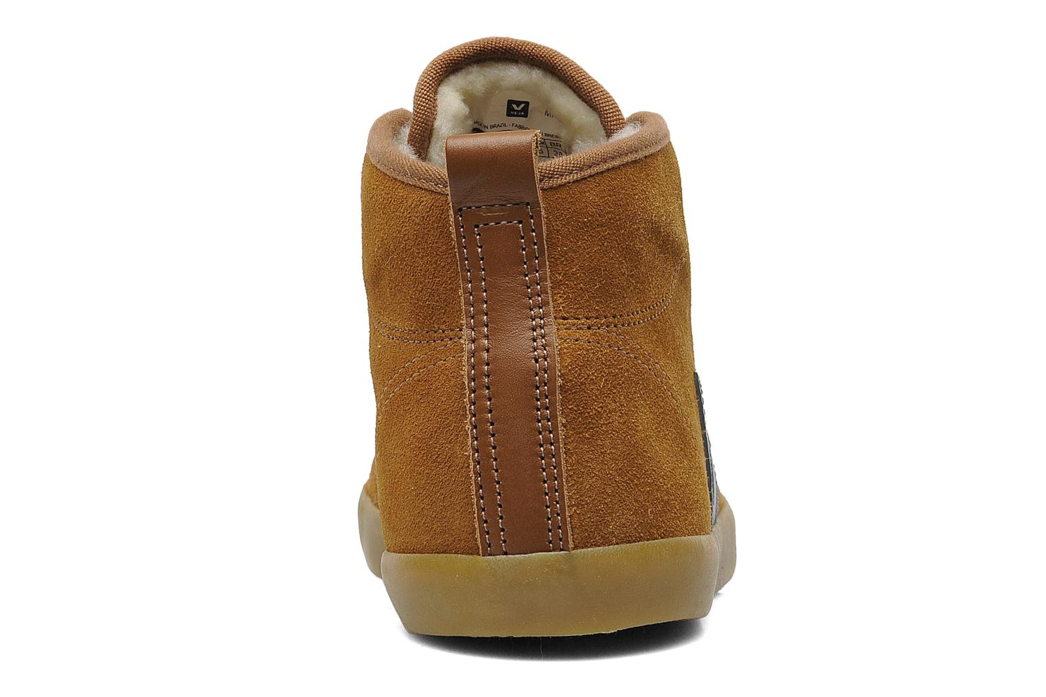 Trainers Veja Taua Mid Suede Fourre Brown view from the right