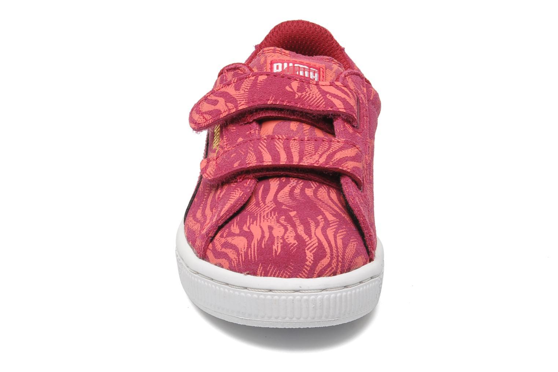 Baskets Puma Suede ANIMAL V Kids Rose vue portées chaussures