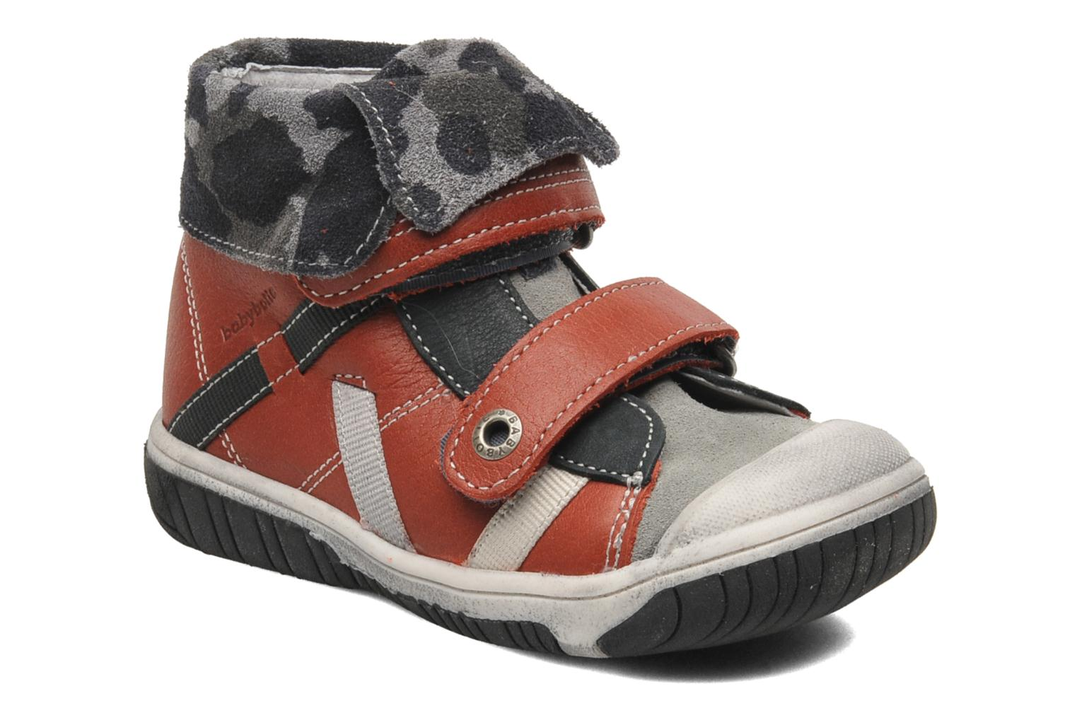 Velcro shoes Babybotte ARTIZOU Red detailed view/ Pair view