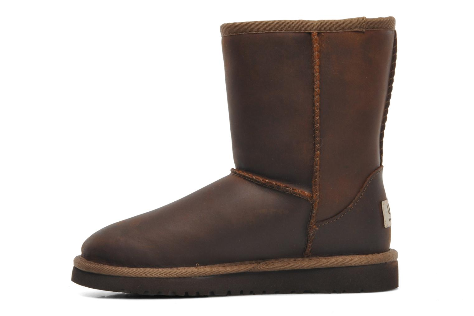 Bottes UGG K Classic Short Leather Marron vue face