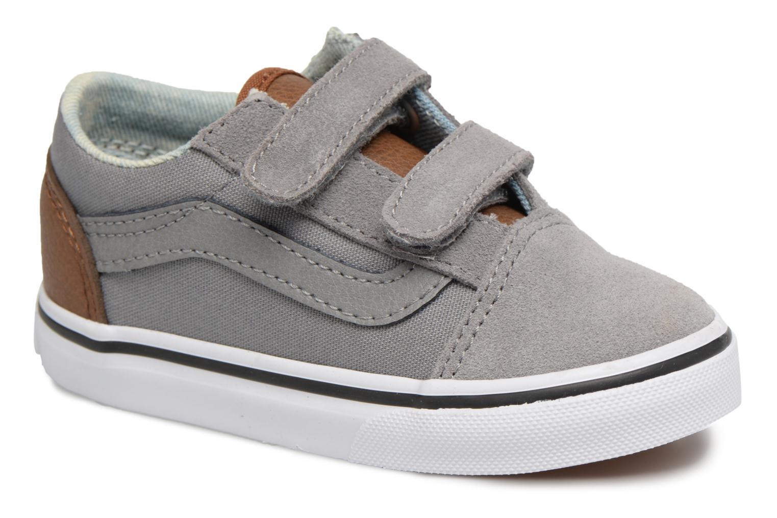 (C L) Frost Gray Acid Denim Vans Old Skool V BB (Gris) a9d9e2758