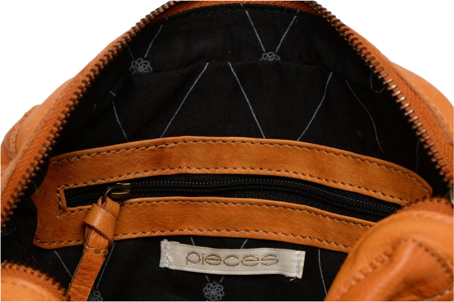Handtassen Pieces Naina leather Crossover new Bruin achterkant