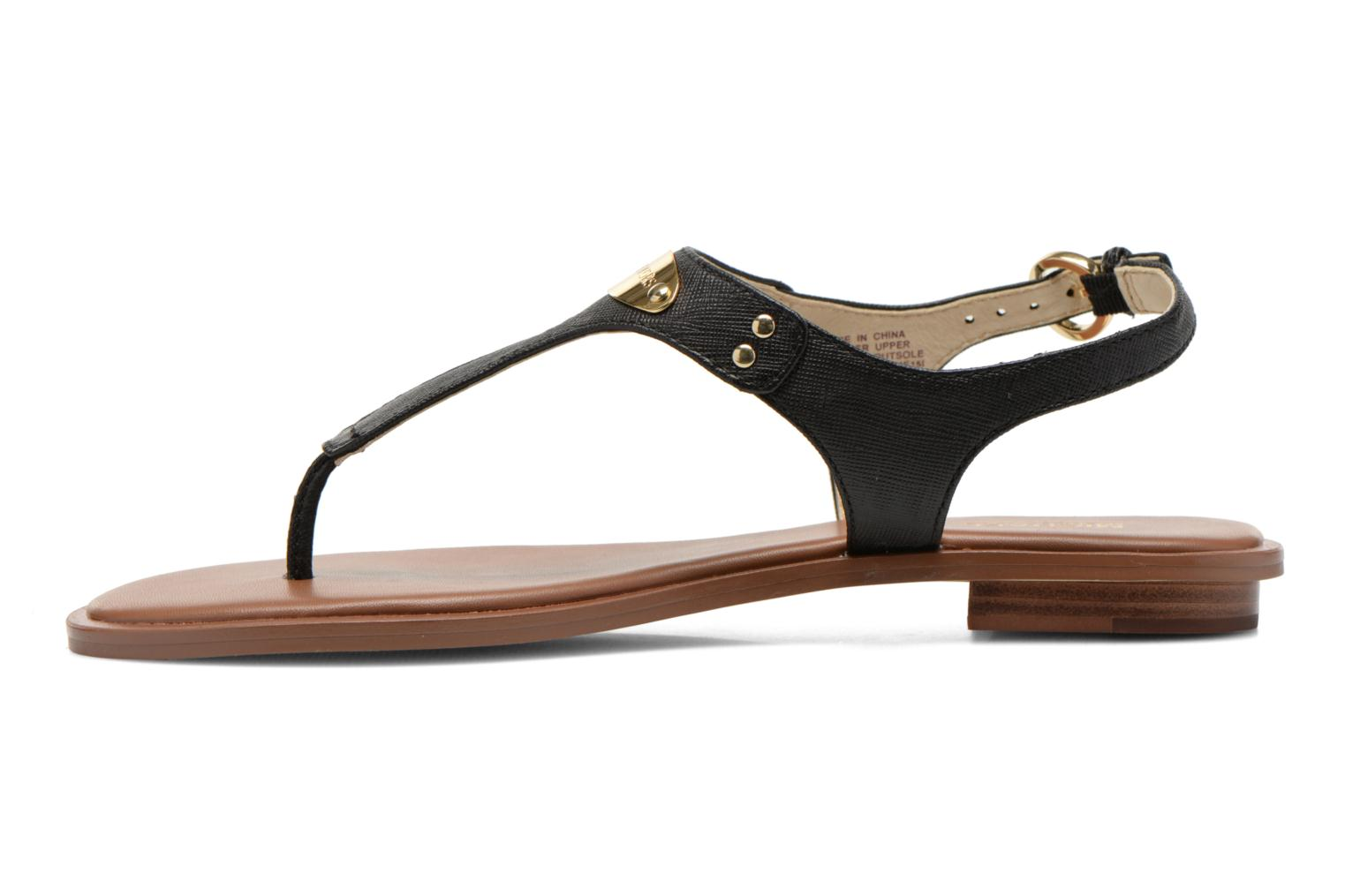 Sandals Michael Michael Kors MK Plate Thong Black front view