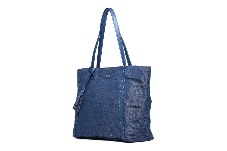 Sacs à main Loxwood Shopper Marilou Lin & Cuir Bleu vue portées chaussures