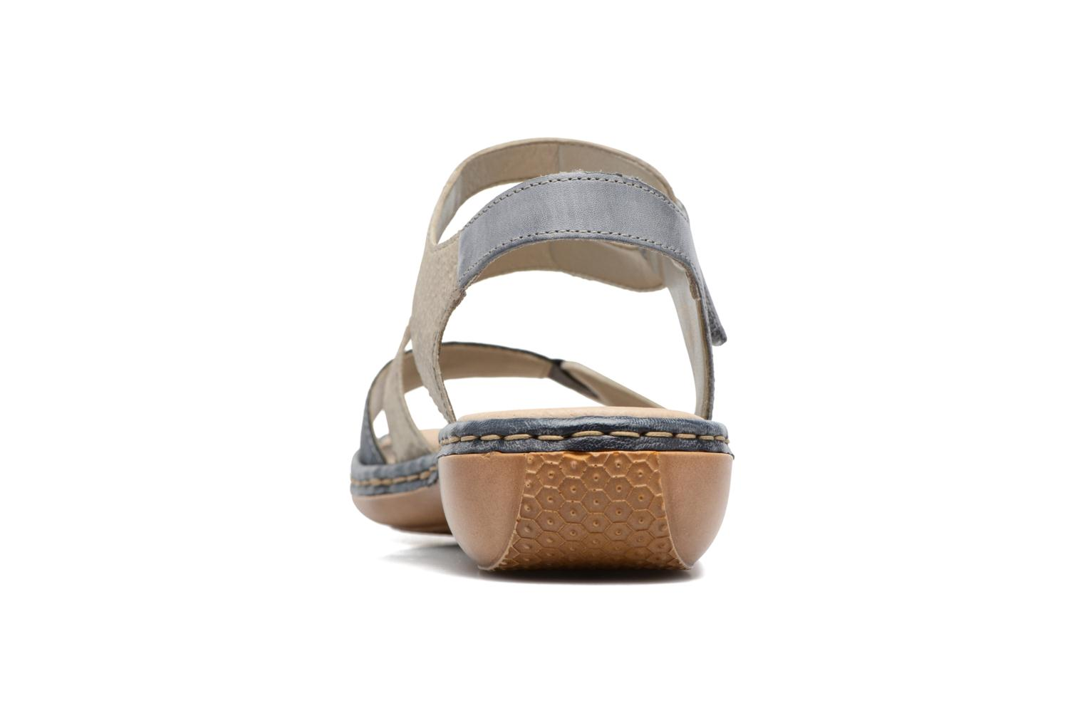 Sandals Rieker Poppy 65969 Blue view from the right