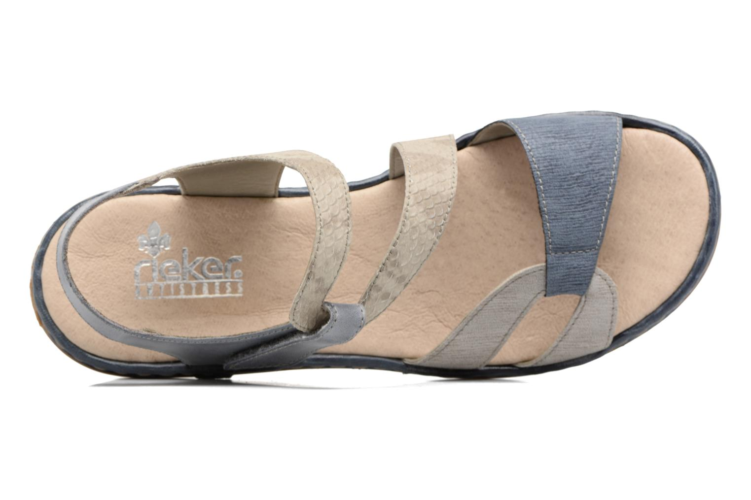 Sandals Rieker Poppy 65969 Blue view from the left