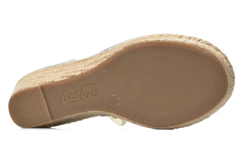 Sandals Coca-cola shoes Juta City Blue view from above