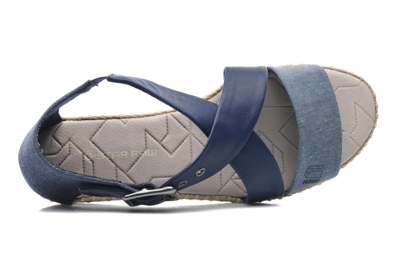Aria Flat Salon Strap Navy Lthr & Textile w/Blue