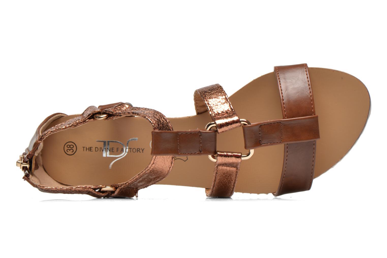 Sandales et nu-pieds Divine Factory Acrux Or et bronze vue gauche