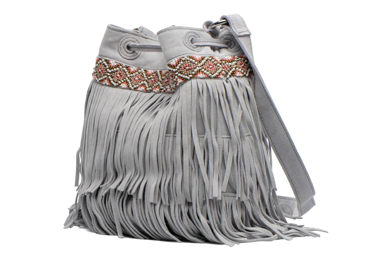 Handtaschen Pieces Jolly suede Tighten bag grau ansicht von rechts