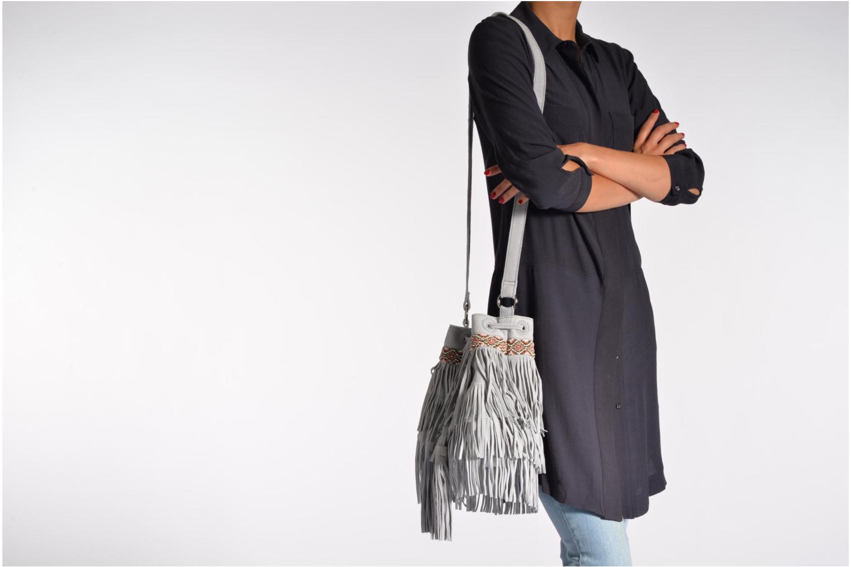 Handtaschen Pieces Jolly suede Tighten bag grau ansicht von oben
