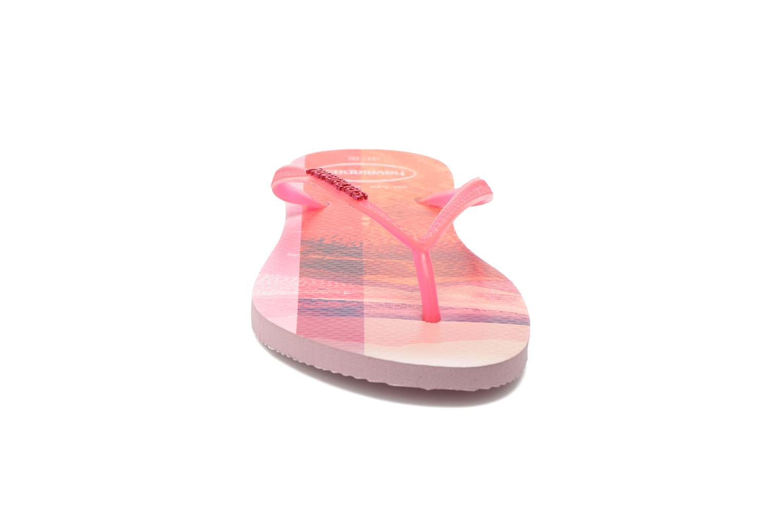 Tongs Havaianas Slim Paisage Rose vue portées chaussures