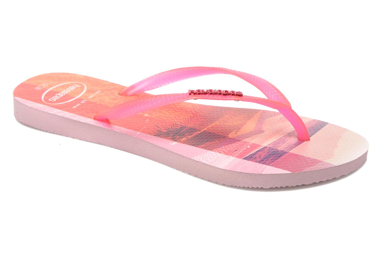 Flip flops Havaianas Slim Paisage Pink detailed view/ Pair view
