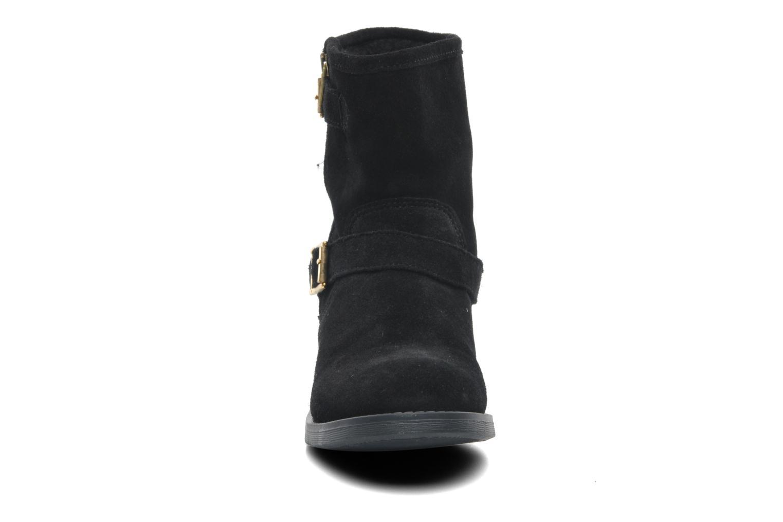Bottines et boots Pieces Iza Suede Zipper Boot Noir vue portées chaussures