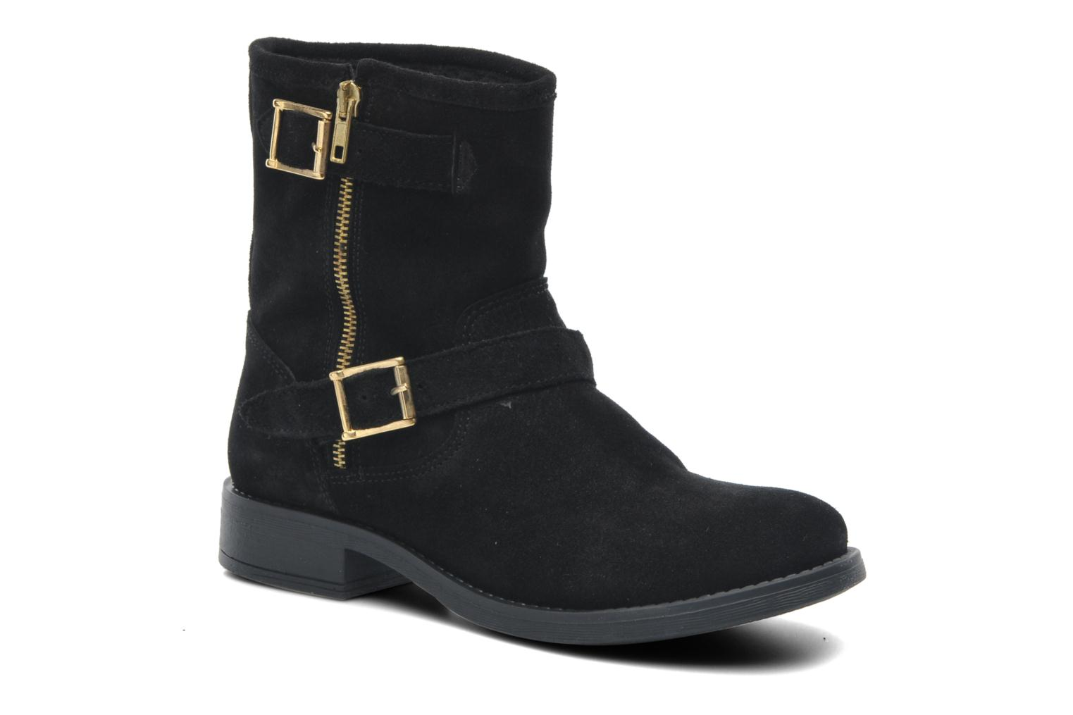 Iza Suede Zipper Boot Black