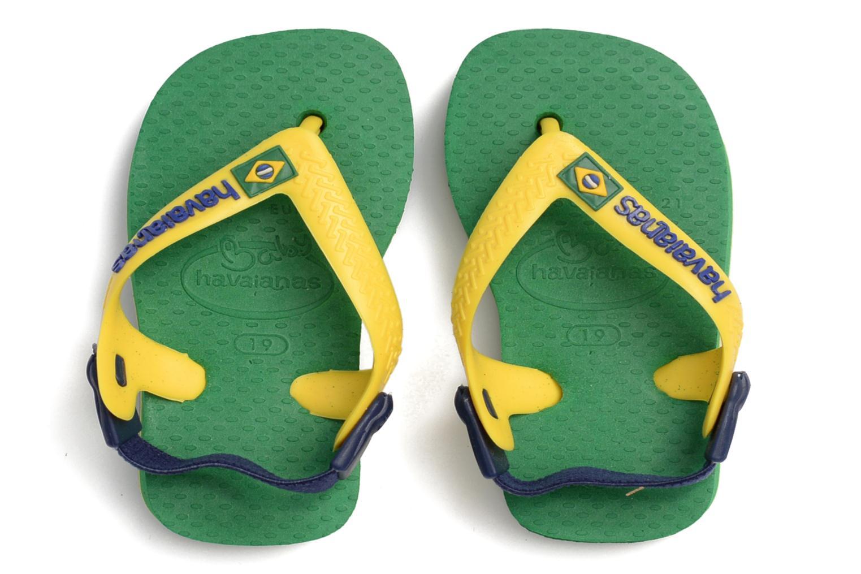 Flip flops Havaianas Baby Brazil Logo Green 3/4 view