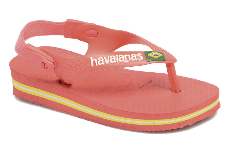 Tongs Havaianas Baby Brazil Logo Rose vue détail/paire
