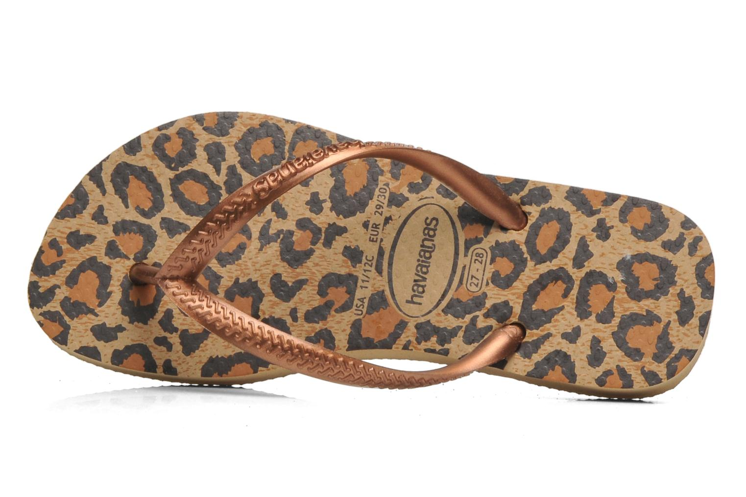 Flip flops Havaianas Kids Slim Animals Bronze and Gold back view