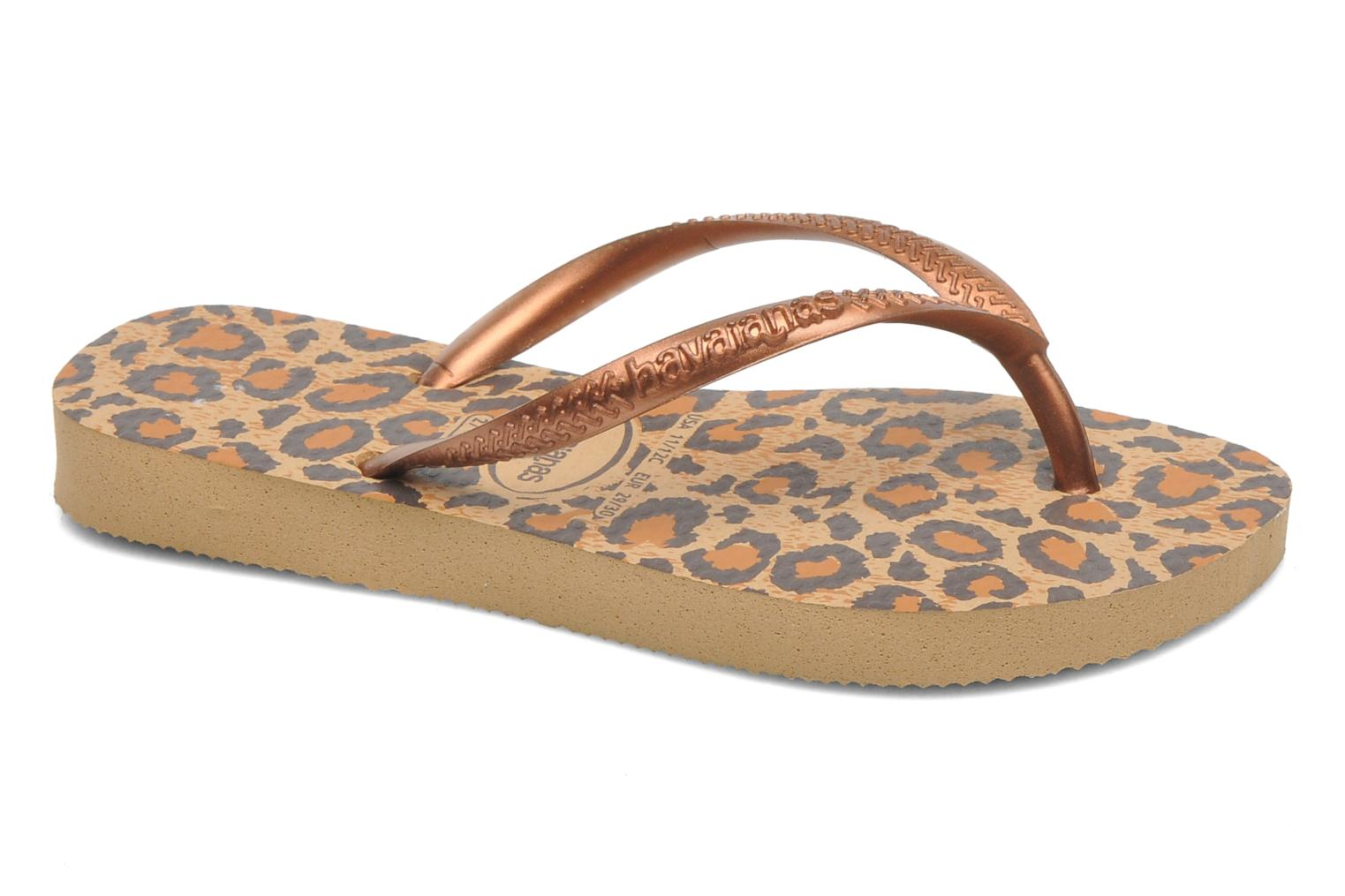 Flip flops Havaianas Kids Slim Animals Bronze and Gold detailed view/ Pair view