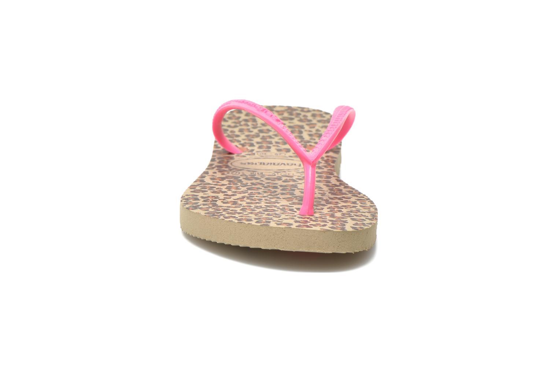 Tongs Havaianas Kids Slim Animals Rose vue portées chaussures