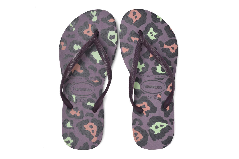 Flip flops Havaianas Kids Slim Animals Purple 3/4 view