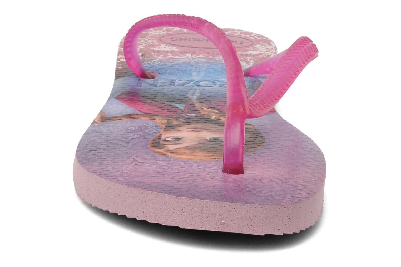 Tongs Havaianas Kids Slim Frozen Rose vue portées chaussures