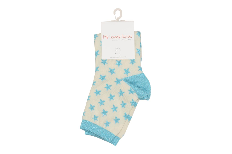 Chaussettes et collants My Lovely Socks Chaussettes Mixte Celeste Blanc vue portées chaussures