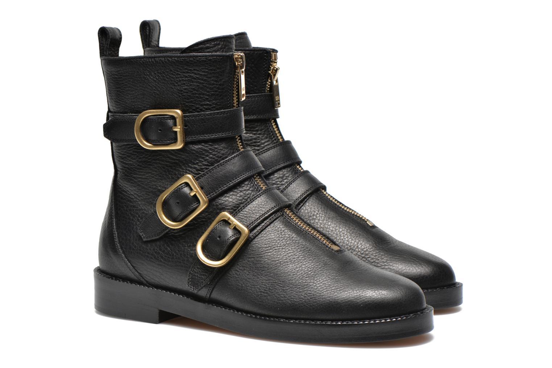 Bottines et boots Sonia Rykiel Biker Buckel Noir vue 3/4