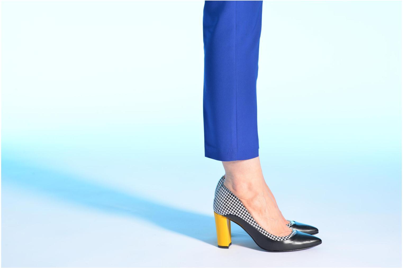 Notting Heels #3 Napa negro+ charol pied de poule+ mestizo jaune