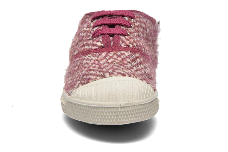 Baskets Bensimon Tennis Girly Tweed E Rose vue portées chaussures