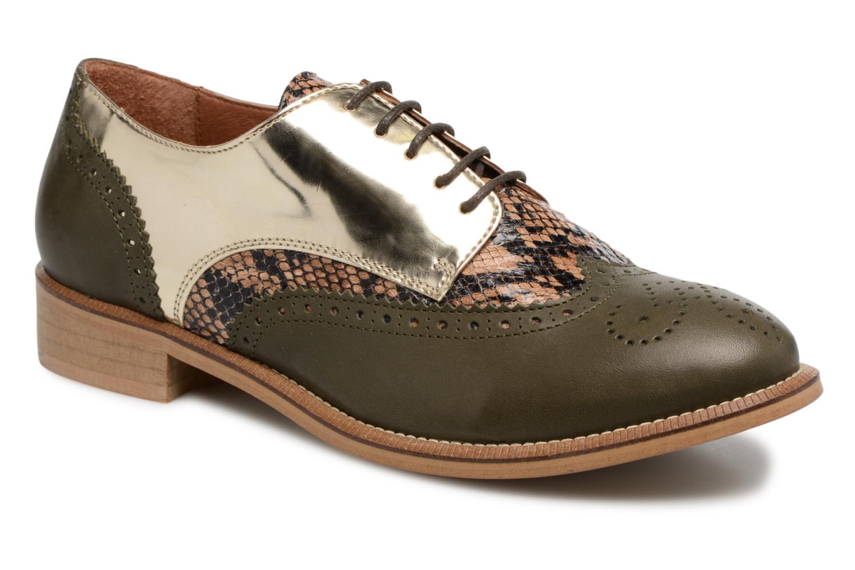 90's Girls Gang Chaussures à Lacets #5 Cuir Multi Doré + python + kaki