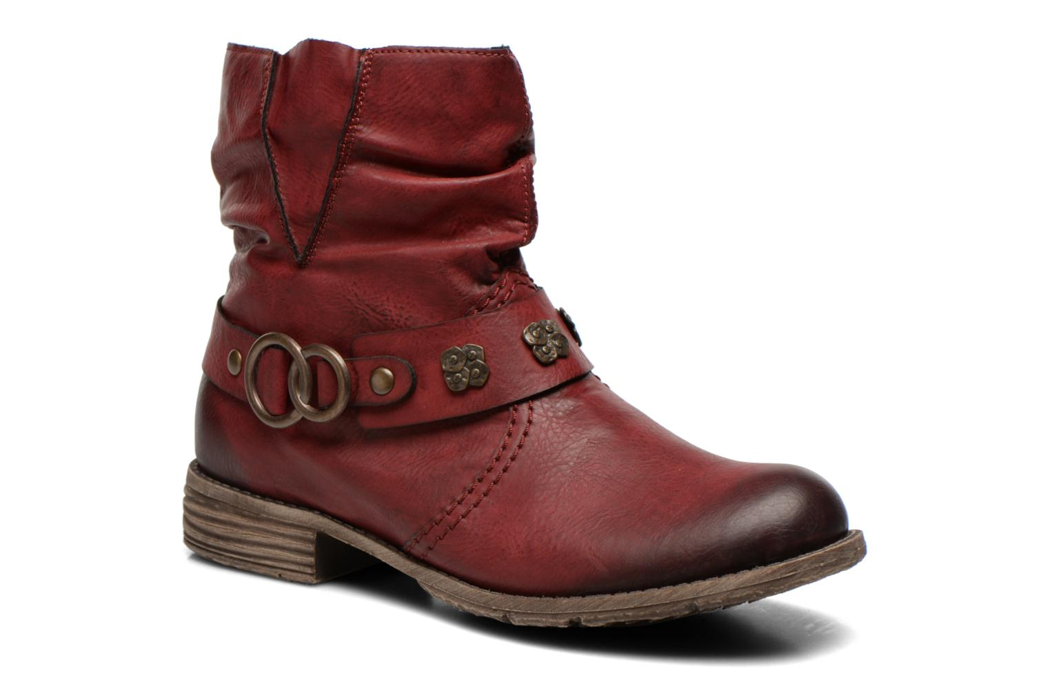 Ankle boots Rieker Myla 74798 Burgundy detailed view/ Pair view
