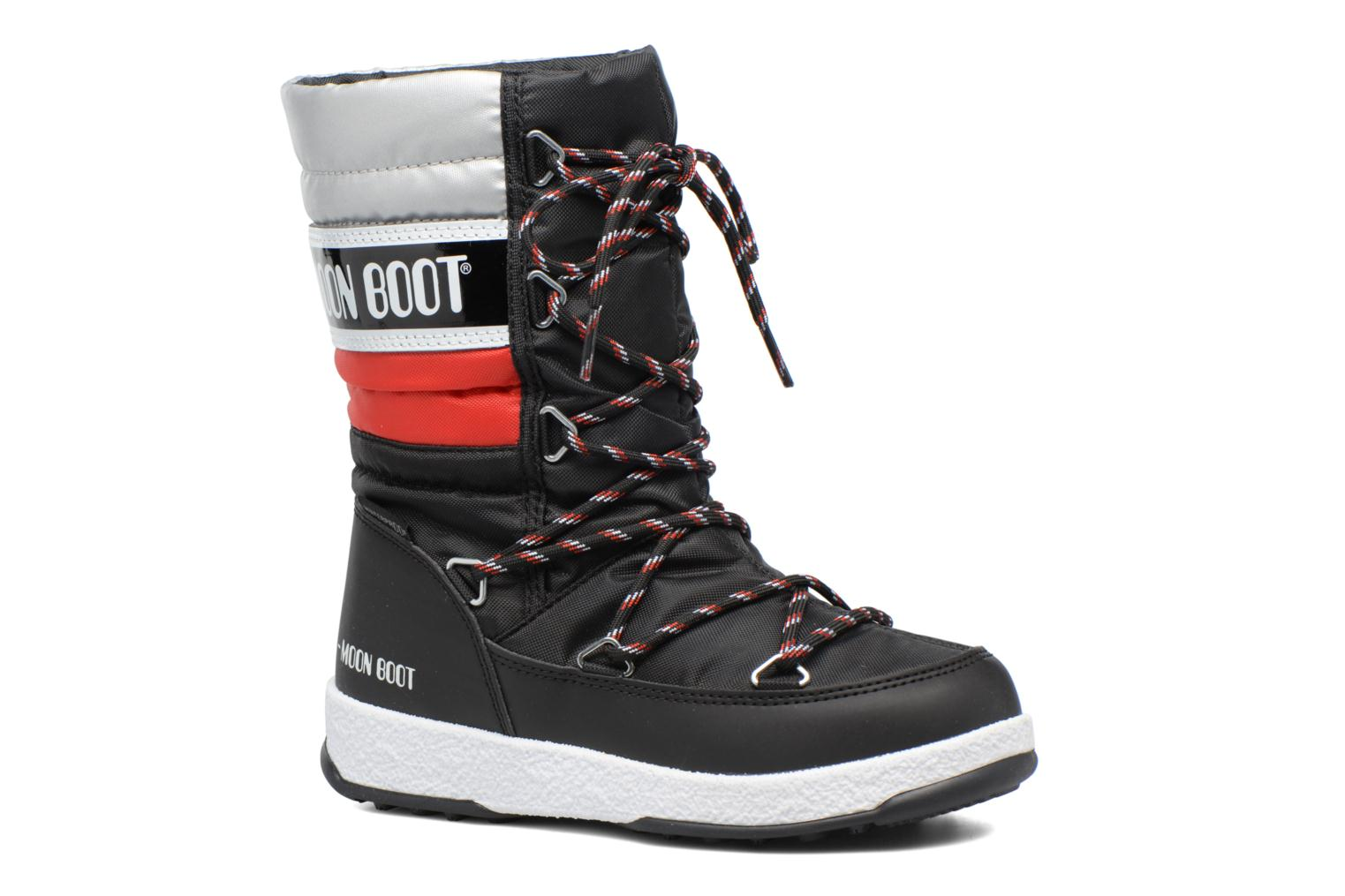 Moon Boot W.E. Quilted Jr Wp Black - Red - Silver met