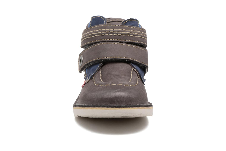 Chaussures à scratch Kickers Wapa Gris vue portées chaussures