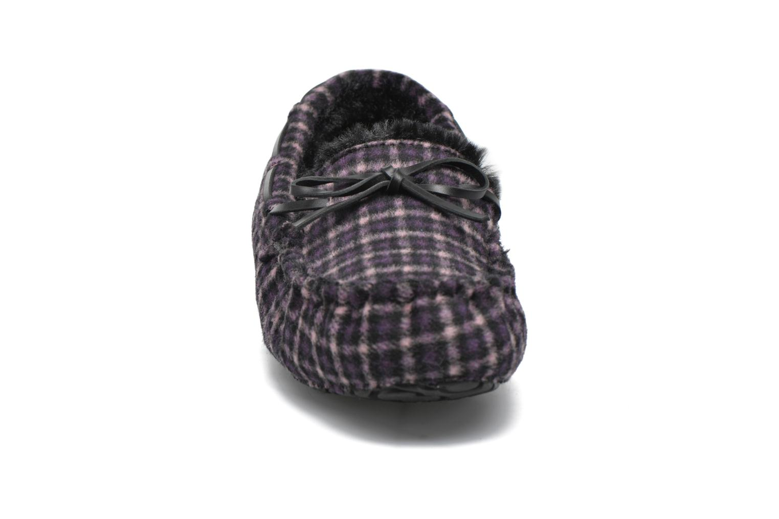Slippers Ruby Brown Check mocassin M Black model view