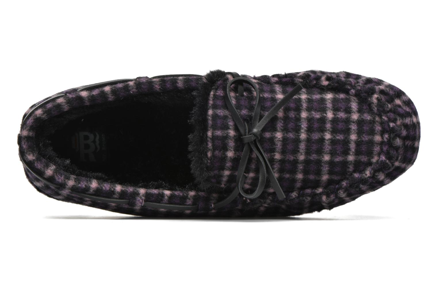Slippers Ruby Brown Check mocassin M Black view from the left