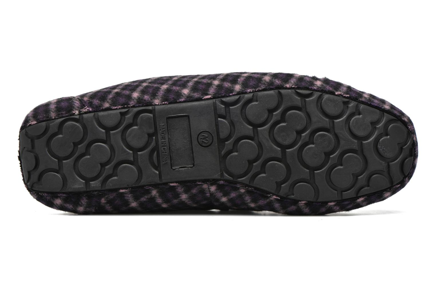 Slippers Ruby Brown Check mocassin M Black view from above