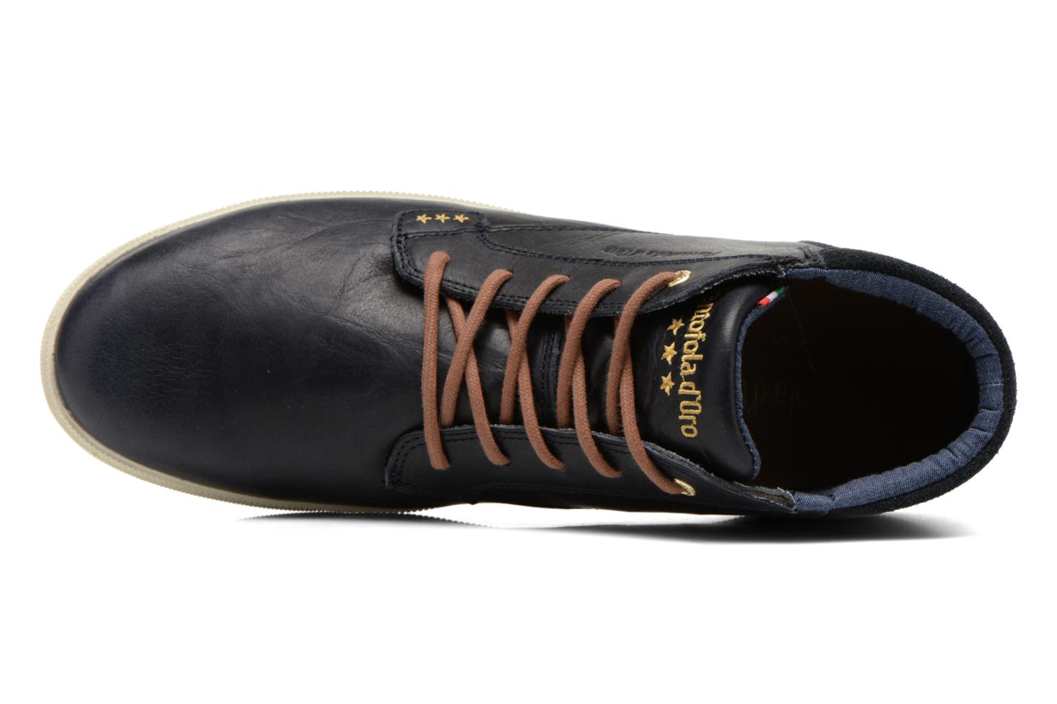 Trainers Pantofola d'Oro Prato Leather Mid Men Blue view from the left