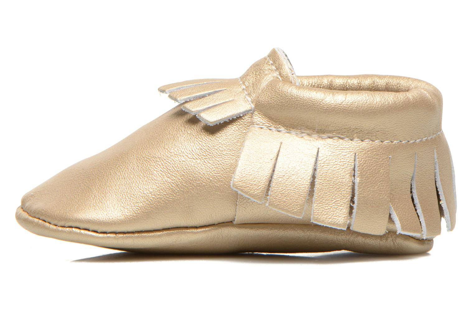 Slippers Hippie Ya Mocassins Platinum Bronze and Gold front view