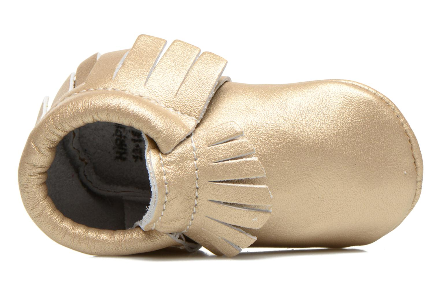 Slippers Hippie Ya Mocassins Platinum Bronze and Gold view from the left