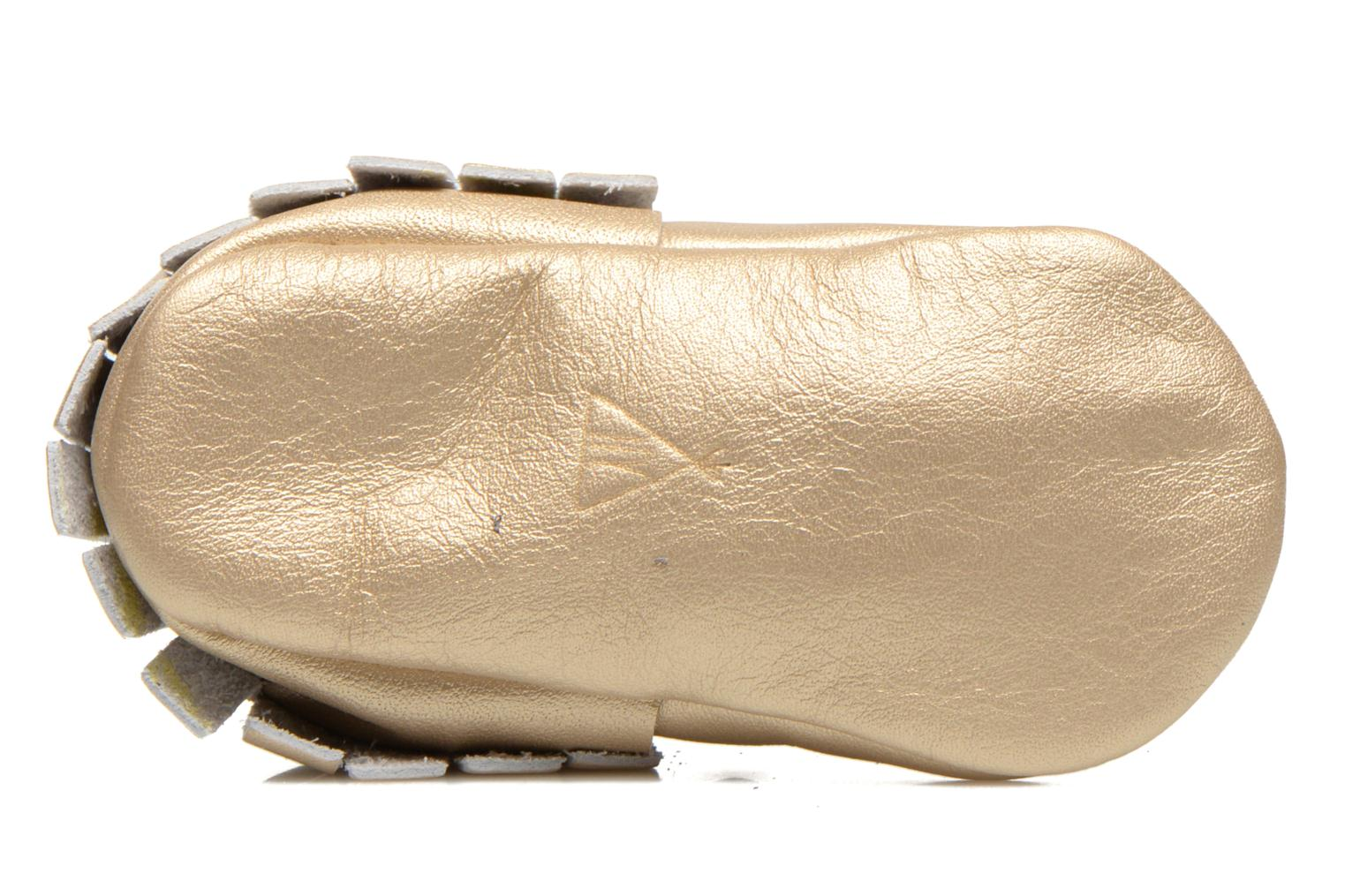 Slippers Hippie Ya Mocassins Platinum Bronze and Gold view from above