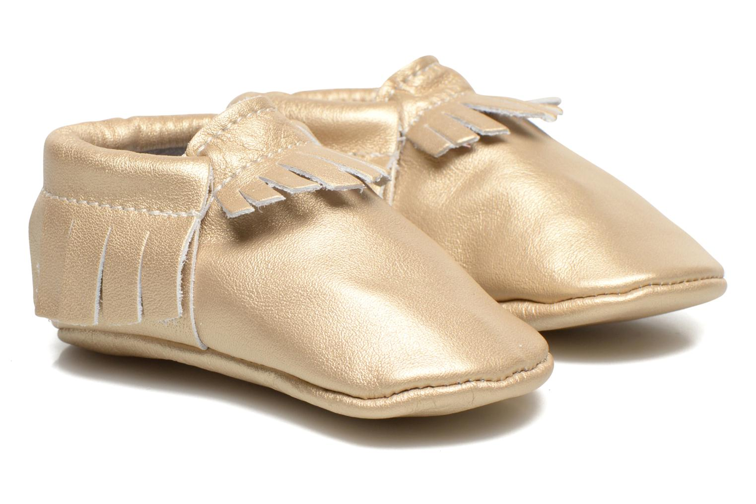 Slippers Hippie Ya Mocassins Platinum Bronze and Gold detailed view/ Pair view